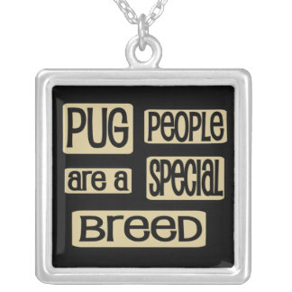 Pug People Special Breed Square Pendant Necklace