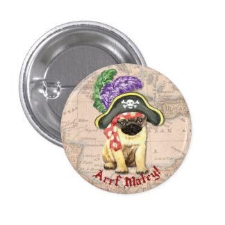 Pug Pirate 3 Cm Round Badge