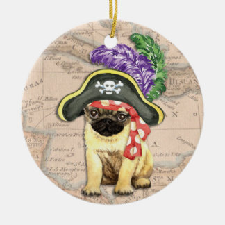 Pug Pirate Christmas Ornament