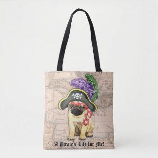 Pug Pirate Tote Bag
