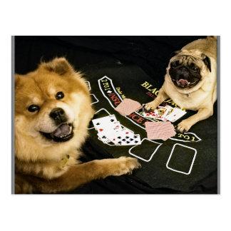 Pug Poker Post Card