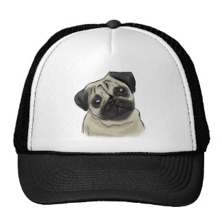 Pug Portrait Drawing Cap