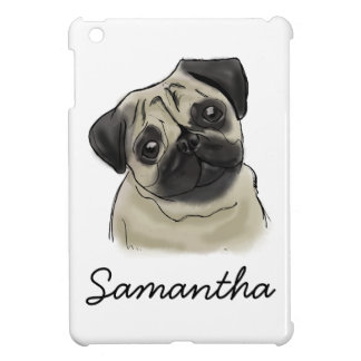 Pug Portrait Drawing iPad Mini Cover