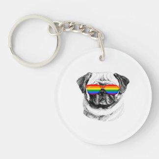 Pug Pride Sunglasses Single-Sided Round Acrylic Key Ring