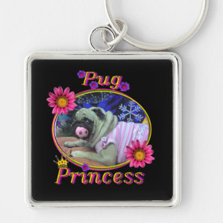 Pug Princess Silver-Colored Square Key Ring