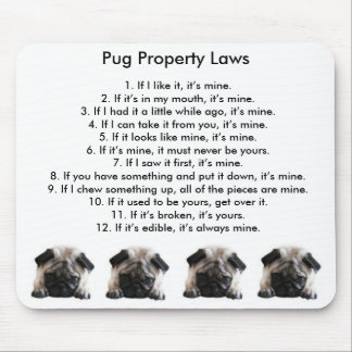 Pug Property Laws Mouse Mat