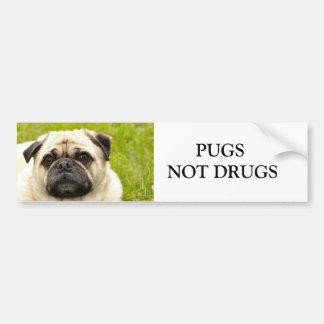 Pug PUGS NOT DRUGS custom bumper sticker