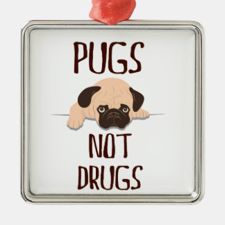 pug pugs not drugs cute dog design christmas ornament
