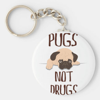 pug pugs not drugs cute dog design key ring