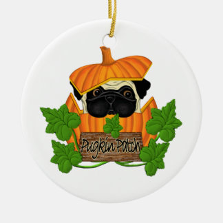 Pug Pumpkin Patch Round Ceramic Decoration