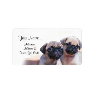 Pug Puppies Address Labels