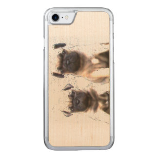 Pug puppies carved iPhone 8/7 case
