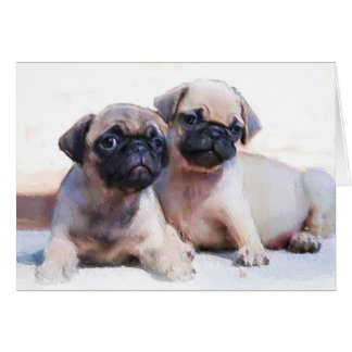 Pug puppies note card