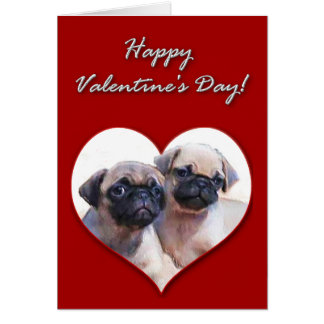 Pug puppies Valentines Day Card
