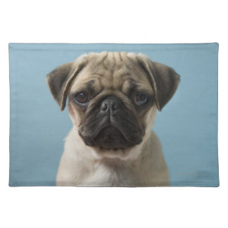 Pug Puppy Against Blue Background Placemat