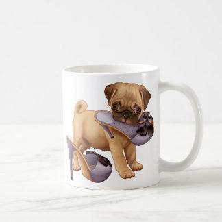 Pug Puppy and Shoe Basic White Mug