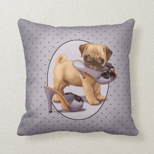 Pug Puppy and Shoe Throw Pillows