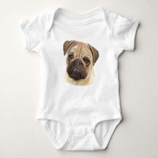 Pug Puppy Art Baby Bodysuit
