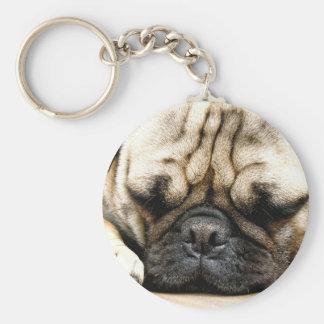 Pug puppy basic round button key ring