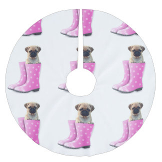 Pug Puppy Brushed Polyester Tree Skirt