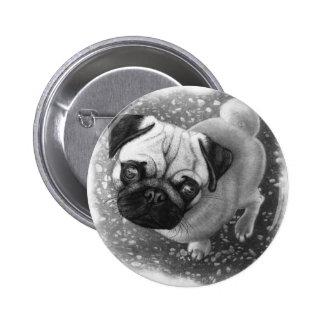 Pug Puppy Dog Art 6 Cm Round Badge
