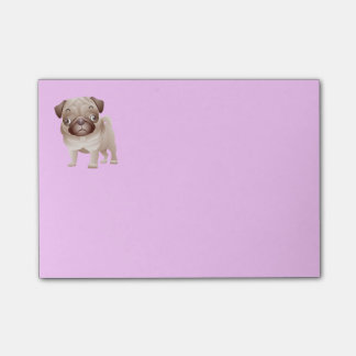 Pug Puppy Dog Cartoon Graphic Purple Stick It Note Post-it® Notes