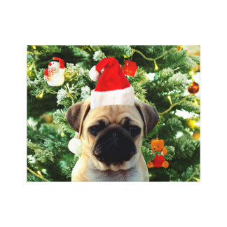 Pug Puppy Dog Christmas Tree Ornaments Snowman Canvas Prints