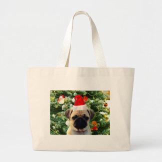 Pug Puppy Dog Christmas Tree Ornaments Snowman Jumbo Tote Bag