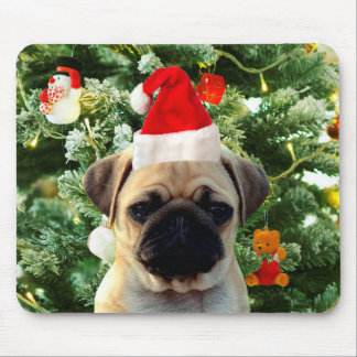 Pug Puppy Dog Christmas Tree Ornaments Snowman Mouse Pad