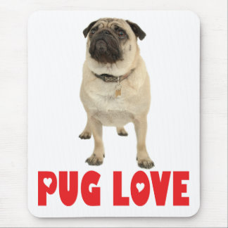 Pug Puppy Dog Red Love Heart Mousepad