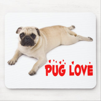 Pug Puppy Dog Red Love Hearts Canine Mouse Pad