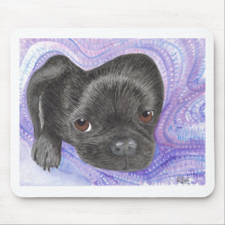 Pug puppy in a blanket mousepads