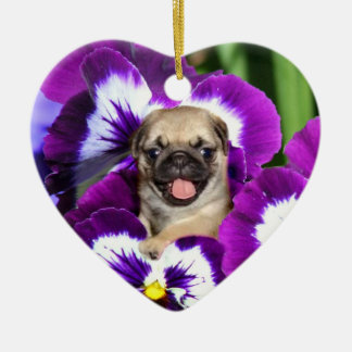 Pug puppy in pansies christmas ornament