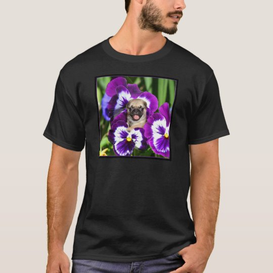 Pug puppy in pansies T-Shirt