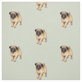 Pug Puppy Love Brushed Cotton Fabric