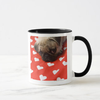 Pug puppy lying on bed, close up mug