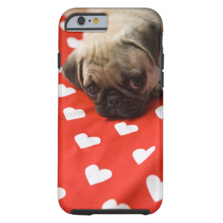 Pug puppy lying on bed, close up tough iPhone 6 case