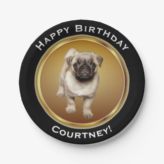 Pug Puppy on Faux Gold Happy Birthday with Name Paper Plate