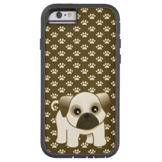 Pug Puppy on Paw Prints Pattern Tough Xtreme iPhone 6 Case