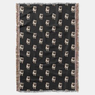 Pug Puppy Pattern on Black