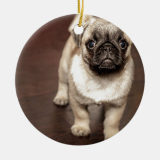 Pug Puppy Round Ceramic Decoration