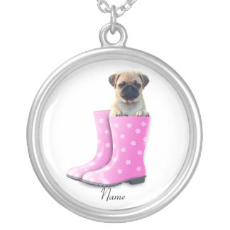 Pug Puppy Silver Plated Necklace