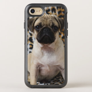 Pug puppy sitting against animal print OtterBox symmetry iPhone 8/7 case