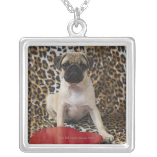 Pug puppy sitting against animal print square pendant necklace