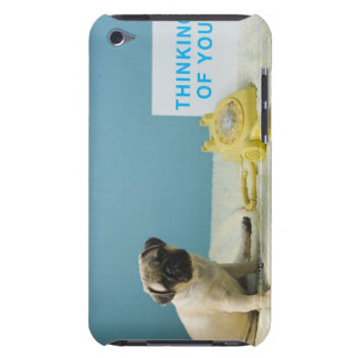 Pug puppy sitting on bed next to and barely there iPod covers