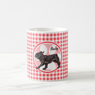 Pug; Red and White Gingham Coffee Mug