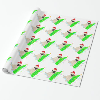 Pug Red Santa Hat Green Christmas Tree Wrapping Paper