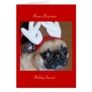 Pug Reindeer Christmas Card