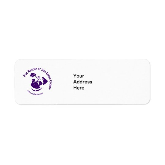 Pug Rescue Logo Purple Return Address Label