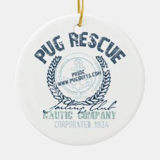 Pug Rescue Yacht Club Grunge Distressed Vintage Round Ceramic Decoration